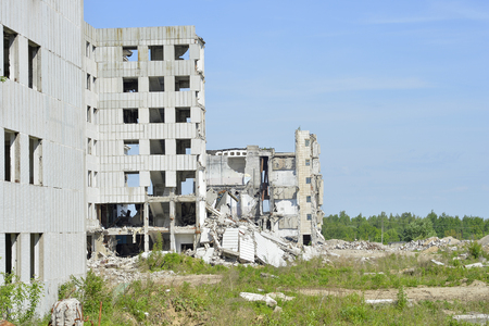 Demolition, disposal of a large industrial plant. Stock Photo