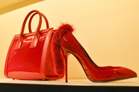 Red womens bag in a combination of red stilettos. The concept of style and taste.