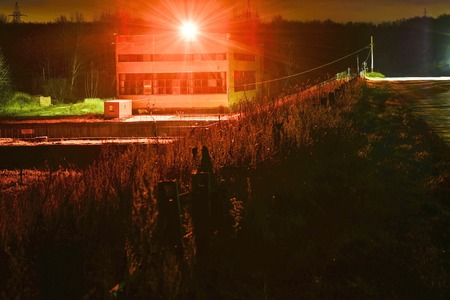 Lighting an industrial facility at night. Security measures