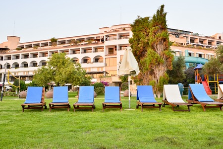 PATHOS, CYPRUS June 09, 2017. A number of sun loungers at the Coral Beach Hotel Resort Cyprus in June 2017 in Cyprus Editorial