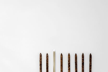 Metal shiny sharp nail stands out in a row of old rusty nails on a light background.