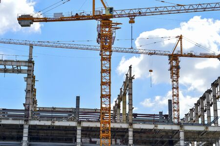 The construction of high-rise buildings, the supply of building materials with the help of a crane