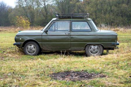 Car brand Zaporozhets on the background of nature in autumn Russia, Kursk region, Zheleznogorsk, October 2020