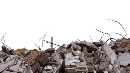 Concrete remains of a ruined building with exposed rebar, isolated on a white background. Background