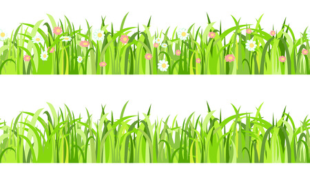 Two grass horizontal seamless border, Vector Illustration Vector