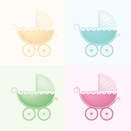 Pastel Baby Carriage Vector illustration. Baby buggy. Vector