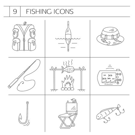 fishing line: Fishing Line icons. Set contains 9 icons.