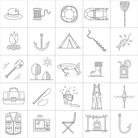 fishing line: Fishing Line icons. Set contains 25 icons. Illustration