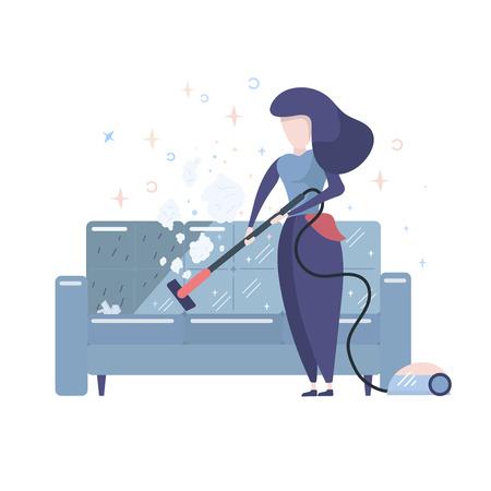 Ilustración de estilo plano de vector de mujeres de servicio de limpieza. Aislado sobre fondo blanco. Ama de casa limpieza sofá con aspiradora.