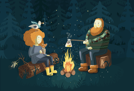 Dad with his daughter are sitting on log near campfire. Vector illustration of a family camping in park. Cartoon style.