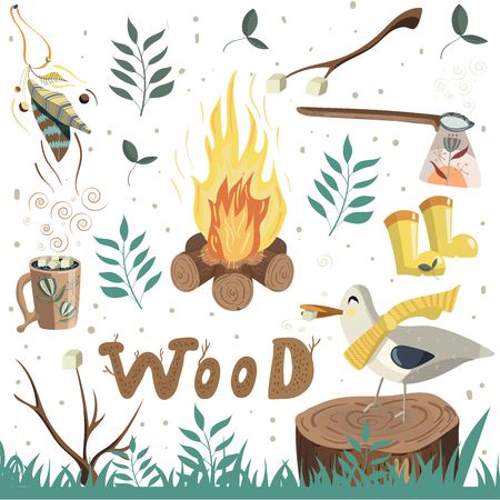 Vector set of camping elements. Drink cocoa with marshmallows near the fire.