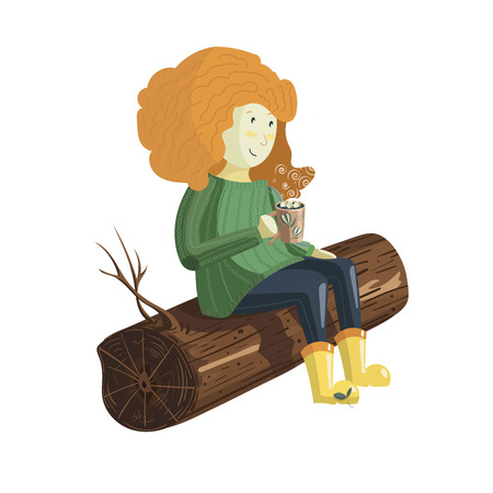 A cute red hair girl sits on the log and drinks hot chocolate from a cup covered with marshmallow. Vector illustration on a white background.