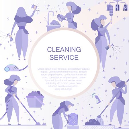 Cleaning Service flat illustration for business usage.