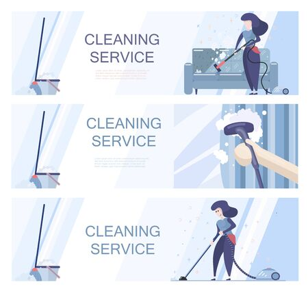 Set of templates for cleaning service offer.