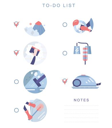 Cleaning checklist in a flat style. Flat vector icon set