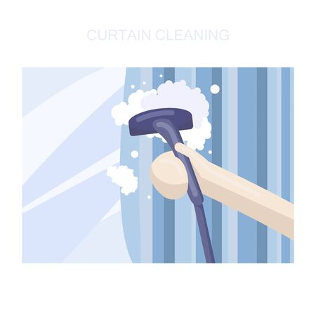 Curtain cleaning service - flat style vector illustration
