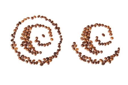 non alcoholic: abstract pattern of coffee beans on the white