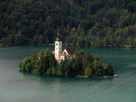 bled: Church on lake Bled