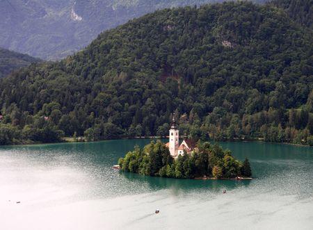 bled: Church o lake Bled Stock Photo