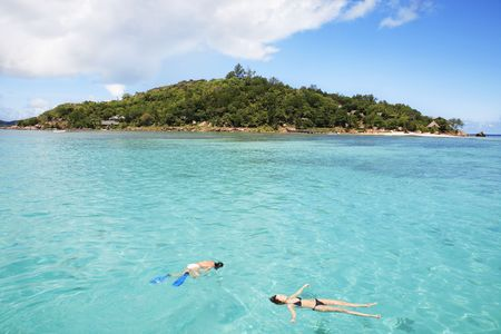 tourists snorkling resting in the sea at large of a seychelles island