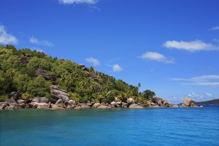 granite rocks of praslin island inseychelles indian ocean Banque d'images - 121743187