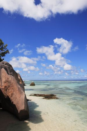anse source d'argent beach in la digue in seychelles island 스톡 콘텐츠 - 121743191