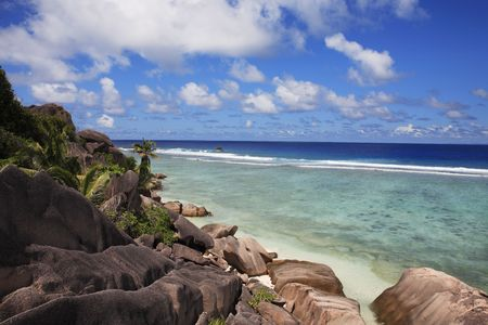 Anse source d'argent plage à la digue aux seychelles Banque d'images