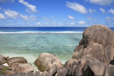 anse source d'argent beach in la digue in seychelles island Banque d'images - 121743193