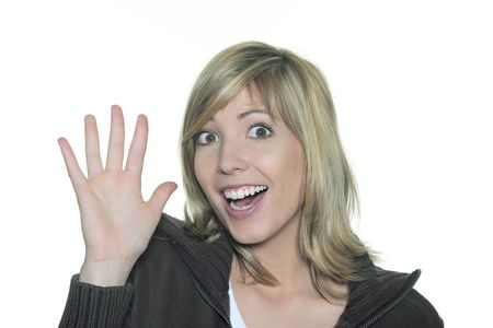 portrait in studio on a white background of a young blond caucasian expressive and smiling woman making sign with her hands Banco de Imagens