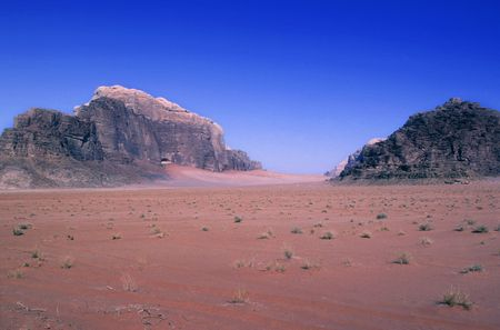 wadi rum desert in jordania location place were been shot movies like indiana jones ,laurence of arabia or red planet