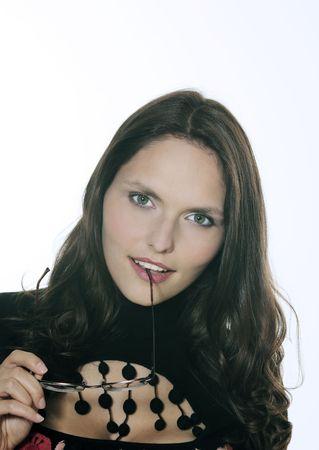 studio shot portrait of a beautiful 25 years old smiling woman Stok Fotoğraf - 121743267