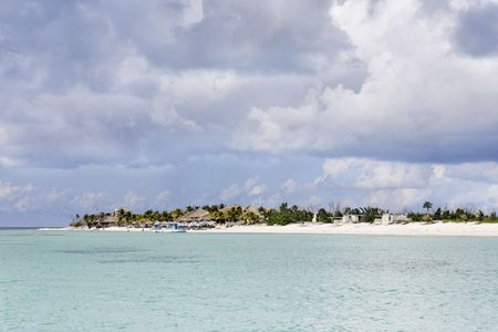 view of the beautiful white sand beach of cozumel island in yucatan mexico  Stock Photo