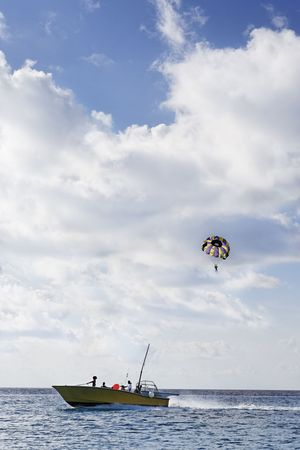 parasailing in the cozumel bay Stock Photo