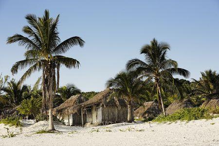 cabana on the beach  of tulum in yucatan Stock fotó - 121743308