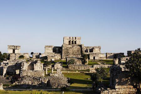 vista del sitio arqueológico maya de tulum Foto de archivo