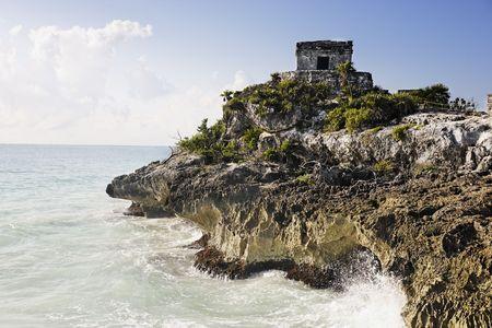 vue sur le site archéologique maya de tulum Banque d'images