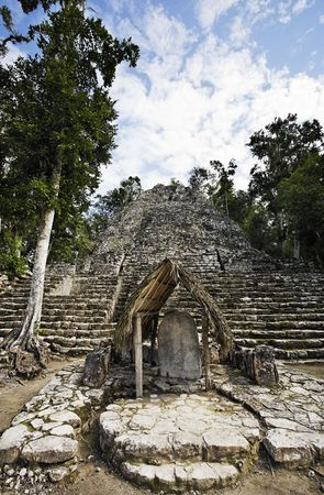view of the lost in the jungle mayan site of Coba in yucatan mexico Stock Photo