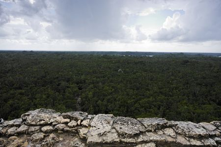 view of the lost in the jungle mayan site of Coba in yucatan mexico Imagens