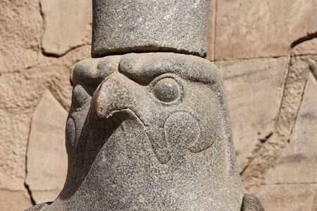 statue of god Horus in his temple in Edfou in upper egypt 写真素材