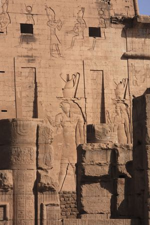 view of god Horus temple in Edfou in upper egypt 写真素材