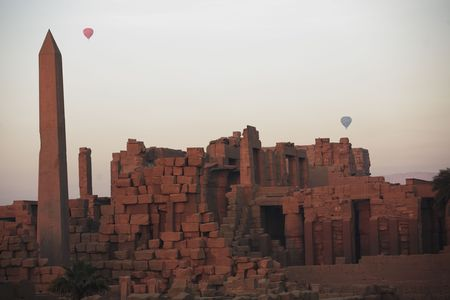 Hot-air ballooning over the Karnak temple with the Obelisk in luxor upper egypt