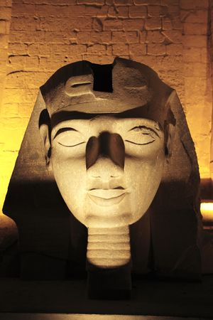 ramessses II statue  of the luxor temple by night in upper egypt 写真素材