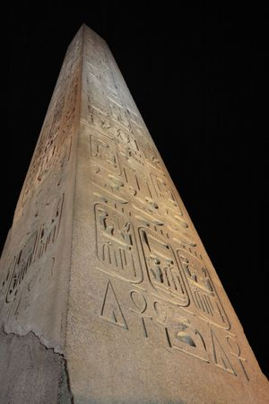 obelisk of the luxor temple by night in upper egypt