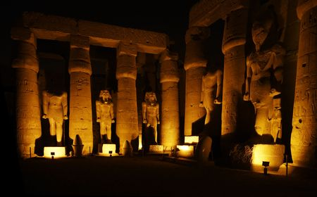 view of the luxor temple by night in upper egypt