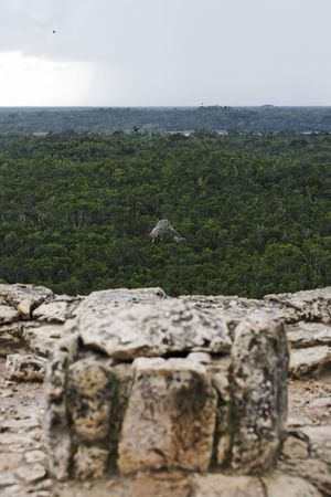 view of the lost in the jungle mayan site of Coba in yucatan mexico 스톡 콘텐츠