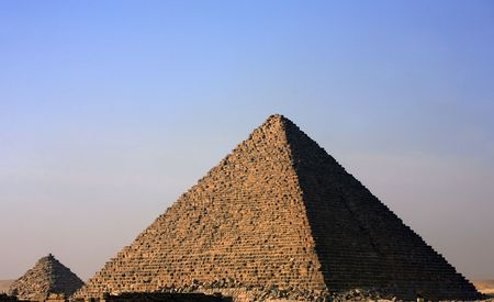 Vista de las pirámides de Gizah, cerca de El Cairo en Egipto Foto de archivo