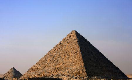 Vue sur les pyramides de Gizah près du Caire en Egypte Banque d'images