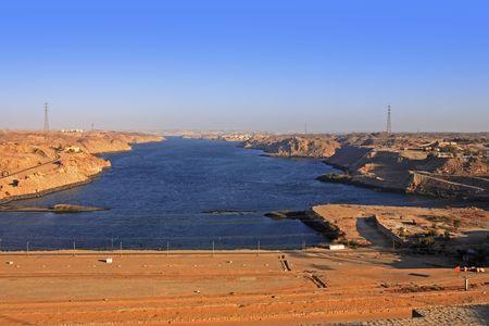 Assuan-Staudamm am Nil in Ägypten Standard-Bild