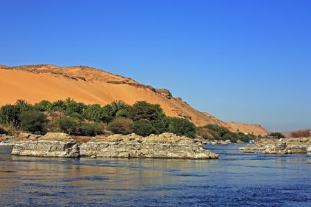 cataract on the river nile in egypt near aswan Stock Photo - 121743493