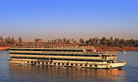 hotel boat cruising  on the river nile in egypt Stok Fotoğraf